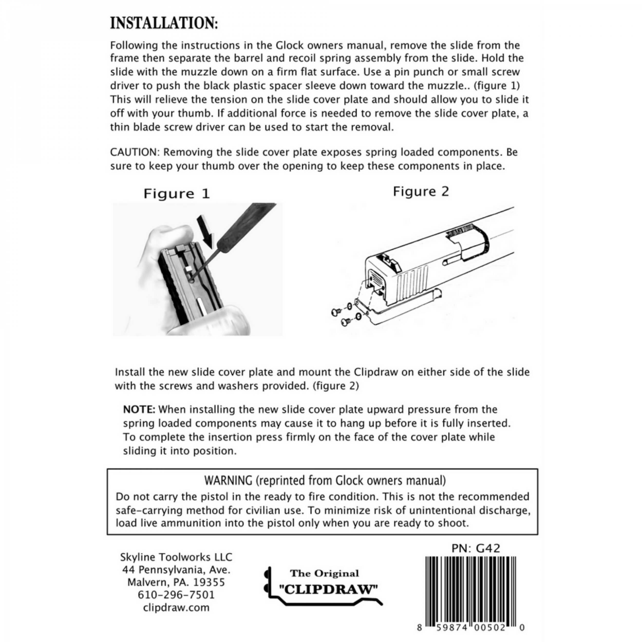 IWB Clip Holster Glock 17 / 19 / 19X / 22 / 23 / 24 / 25 / 26 / 27 / 28 / 30S / 31 / 32 / 33 / 34 / 35 / 36 / 37 / 45