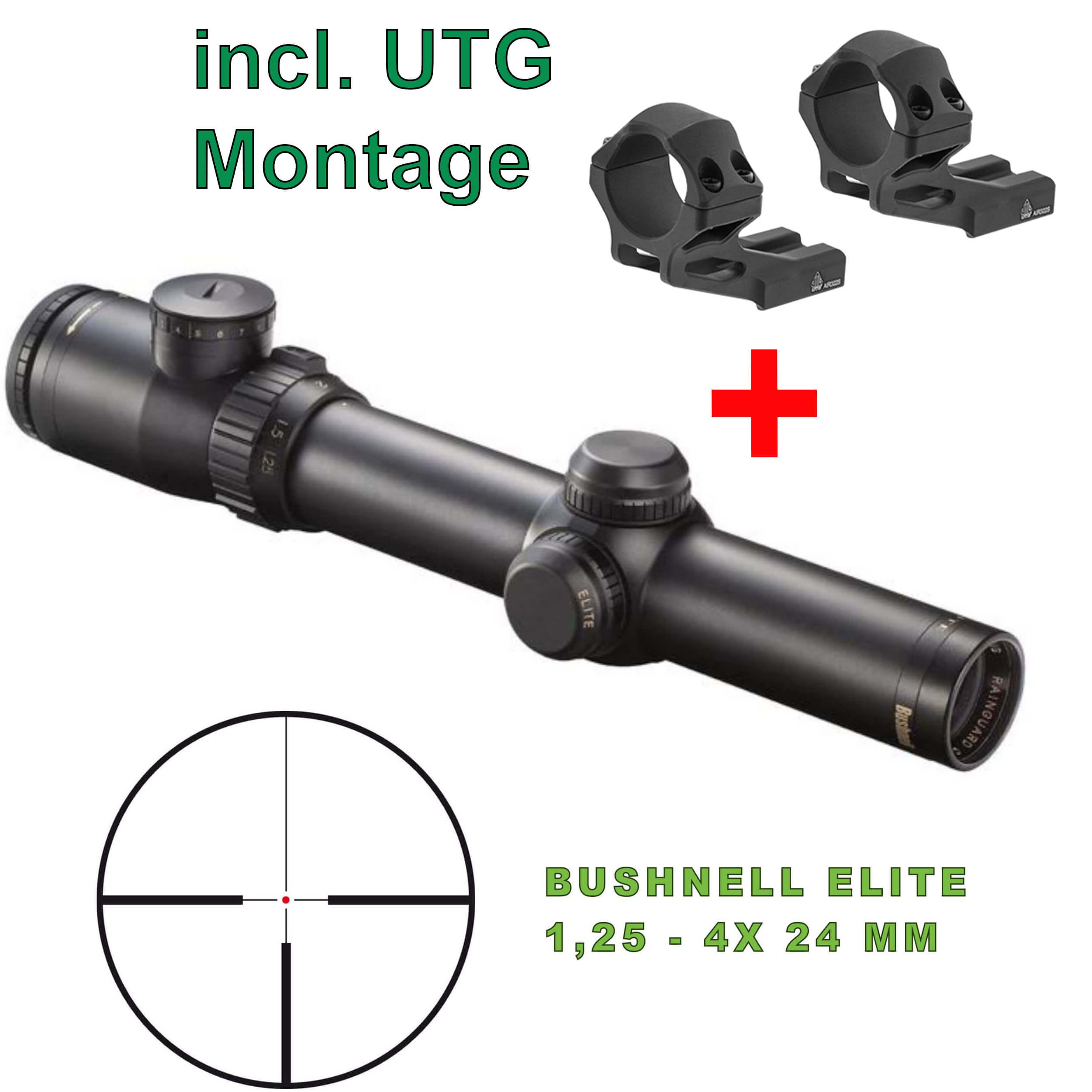 Bushnell Zielfernrohr Elite M 1,25-4x24, beleuchtet incl. Montage